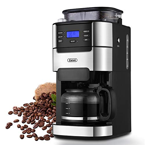 10-Cup Drip Coffee Maker, Grind and Brew Automatic Coffee Machine with Built-In Burr Coffee Grinder, Programmable Timer Mode and Keep Warm Plate, 1.5L Large Capacity Water Tank