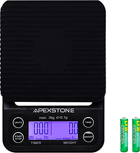Apexstone Coffee Scale with Timer,Coffee Scale with Timer Small,Pour Over Coffee Scale Timer,Coffee Scales with Timer,Espresso Scale with Timer(Batteries Included)