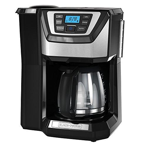 BLACK+DECKER 12-Cup Mill and Brew Coffeemaker, Black, CM5000B
