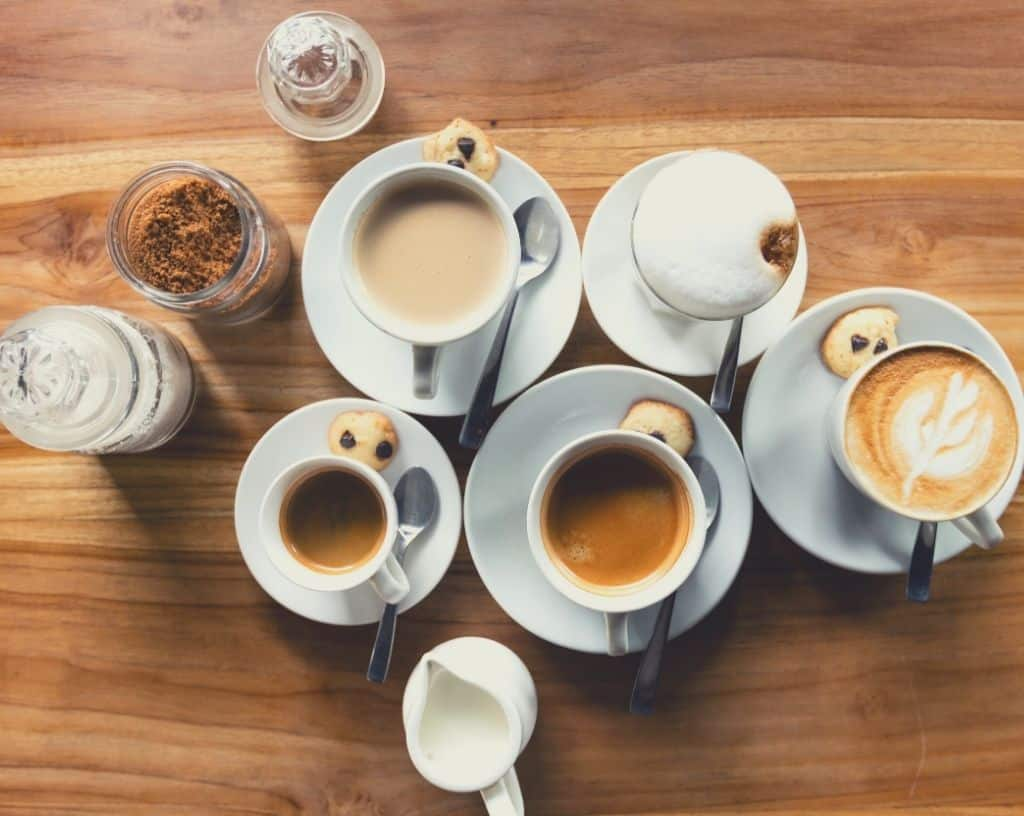 An assorted selection of coffees, including espresso