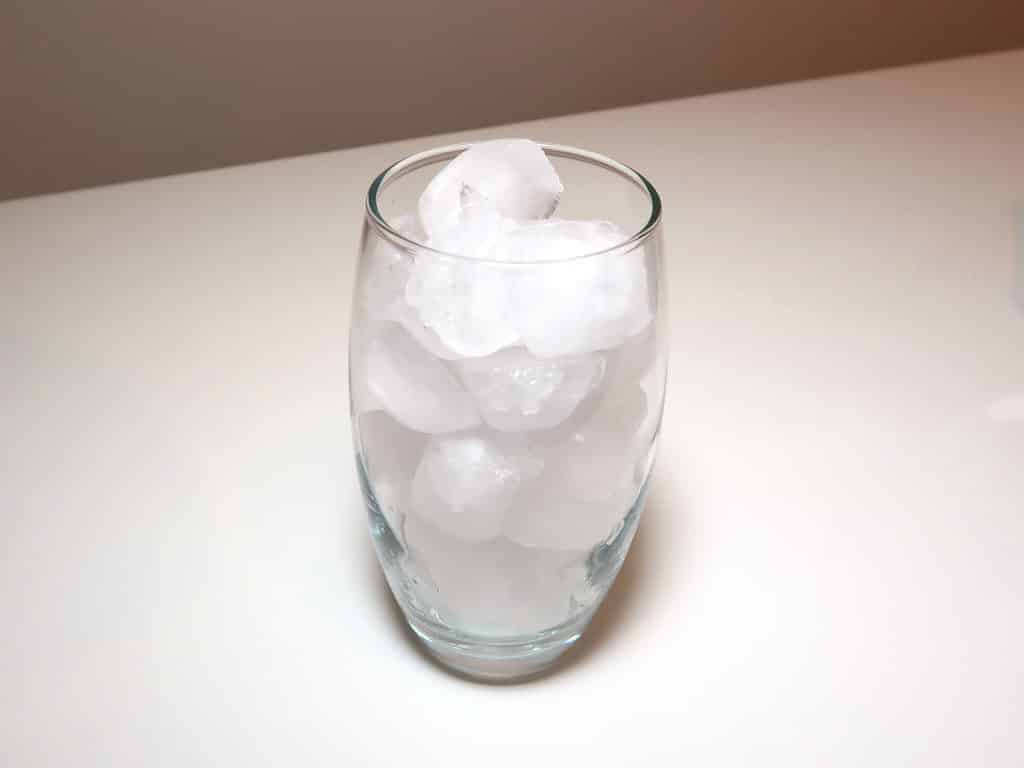 A glass filled with ice